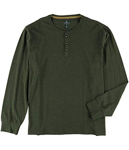 G.H. Bass & Co. Mens LS Henley Shirt, Green, Small