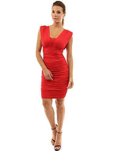 PattyBoutik Women's V Neck Padded Sleeveless Cocktail Dress (Red M)