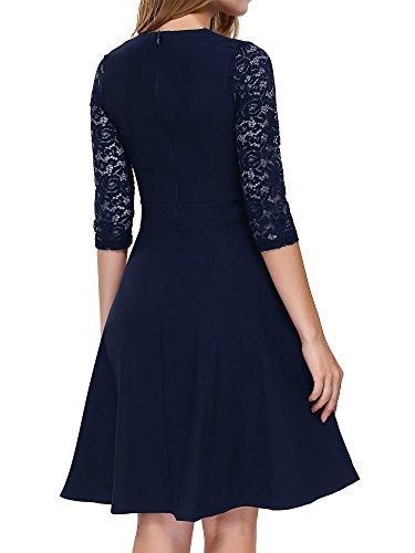 MIOIM Damen Knielang Vintage Abendkleid Spitze Kleid Elegante ...