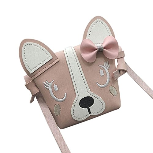 WILLTOO Children Mini Shoulder Bag Leather Handbag Backpack Crossbody Bag Cute Animal Bowknotl Schoolbag Snacks Bag (Pink) (Charms Purses Designer)