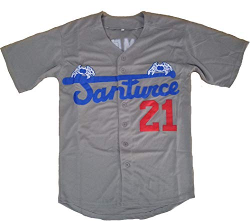 Santurce Crabbers #21 Roberto Clemente Puerto Rico Baseball Jersey White (Grey, Medium) (Puerto Rican Jersey)