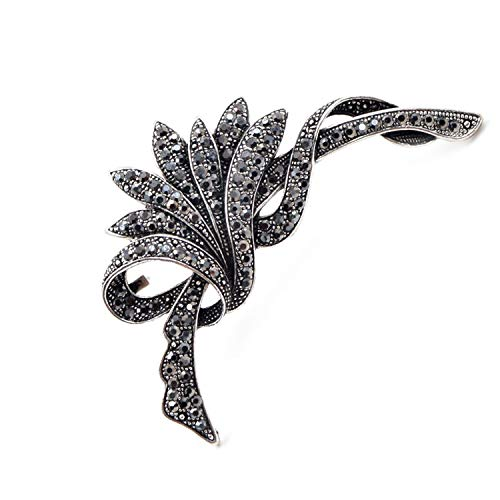 (N-Town Boutique Rhinestone Brooches for Women Fashion Vintage Brooch Pin Party Wedding Accessories Large Broches,Black)
