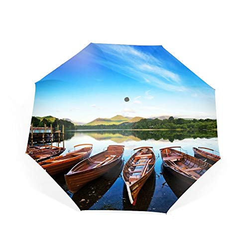Keswick In The Lake District Travel Umbrella Reinforced Canopy, Ergonomic Handle Umbrella ()