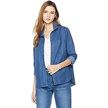 Lily Parker Women's Basic Long Sleeve Button Down Denim Shirt