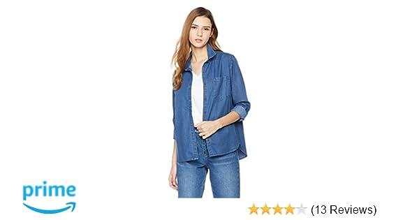 Amazon.com  Lily Parker Women s Casual Bandage Long Sleeve Denim Shirt  Small Dark Blue  Clothing f040490ebd3e7