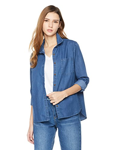 Lily Parker Women's Casual Bandage Long Sleeve Denim Shirt Medium Dark - Denim Jean Blue