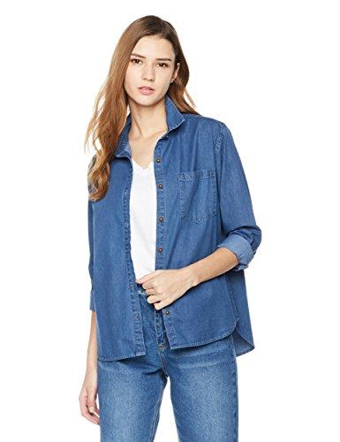 Lily Parker Women's Casual Bandage Long Sleeve Denim Shirt Medium Dark - Denim Blue Jean