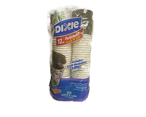 Dixie PerfecTouch Grab 'N Go 12 Oz Hot Cups with Lids - 80 (12 Oz Perfectouch Cups)