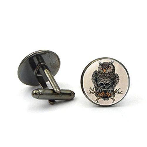 Da.Wa Owl Time Gem Metal Cufflinks Mens Cuff link Round Shape Cufflinks Gift for Men/Father's Day/Lover/Friends/Wedding/Anniversaries/Birthdays by Da.Wa (Image #1)