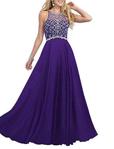 Women's Scoop Neckline Beaded Long Chiffon Prom Dresses Evening Party Gown 2018 Lavender Size 6