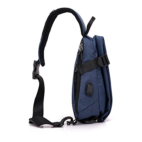 Men Chest Bag Shoulder Bag,Sports Chest Bag Shoulder Sling Backpack Sports Waist Bag with Earphone Hole & USB Charging Hole for Bicycle Sport Hiking Travel Camping Travel Outdoors by Hulorry (Image #8)