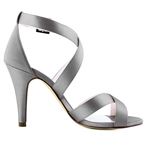 Toe Women High Strap Sandals Shoes Open Heel Wedding Steel Cross ElegantPark Satin Dress dXAwBSqxA
