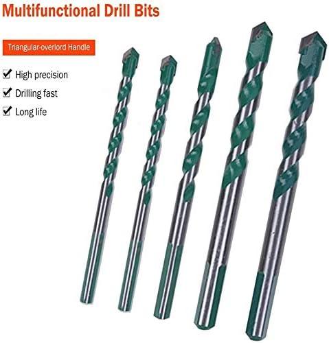 5Pcs Tungsten Carbide Masonry Drill Bit Set Update 2.0 Drill Bits Set Tungsten Carbide Tip Drill Bits Masonry Drill Bits Set for Metal Steel Porcelain Ceramic Tile Concrete Brick Plastic Wood