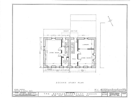 Historic Pictoric Blueprint Diagram HABS NJ,16-PAT,4- (Sheet 2 of 13) - Bernard Hartley House, 158-160 West Broadway, Paterson, Passaic County, NJ 14in x 11in]()