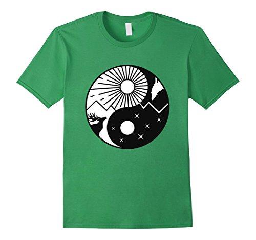 Mens Yin Yang Nature T-shirt XL Grass