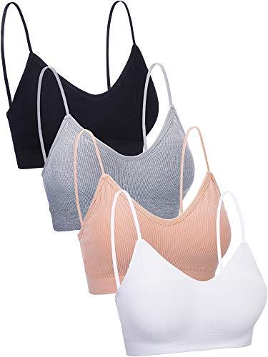 (4 Pieces V Neck Cami Bra Padded Seamless Bralette Straps Sleeping Bra for Women Girls (XXL-XXXL Size) )