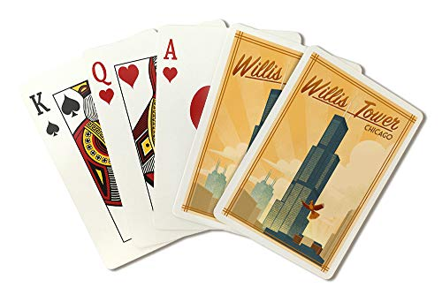 Chicago, Illinois - Willis Tower - Lithograph 95811 (Playing Card Deck - 52 Card Poker Size with Jokers)