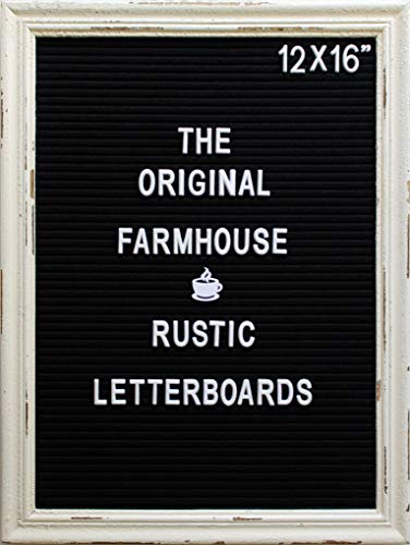 Large Black Felt Letter Board with Rustic White Wood Farmhouse Vintage Frame and Stand by Felt Creative Home Goods 12x16 Changeable Message Board Includes 350 White Alphabet Letters, Numbers, Emojis Alphabet Name Wood Frame