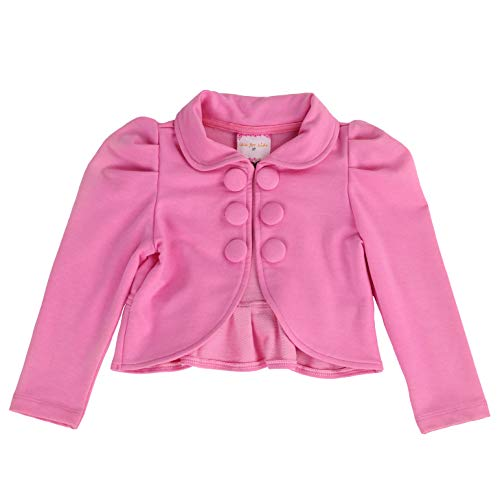 Toddlers and Girls French Terry Knit Ladonna Classic Bolero Crop-Jacket in Pink 5 (Best Lemonade In Los Angeles)