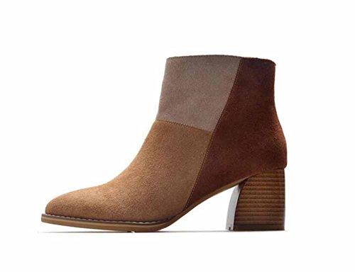 Mujer Moderno Botas De Cuero 2017 Otoño Nuevo Botas De Gamuza Block Heel Lado Cremallera Chelsea Zapatos Brown