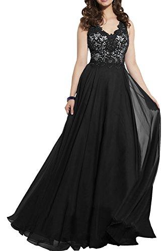 Abendkleider Charmant Festliche Chiffon Damen Brautmutterkleider Royal Blau Kleider Schwarz Elegant Spitze Damen qxYqTO