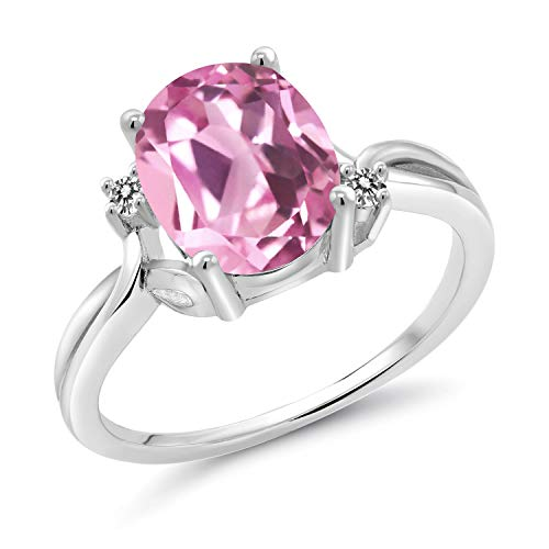 Gem Stone King 3.03 Ct Oval Light Pink Created Sapphire White Diamond 925 Sterling Silver Ring (Size 8)