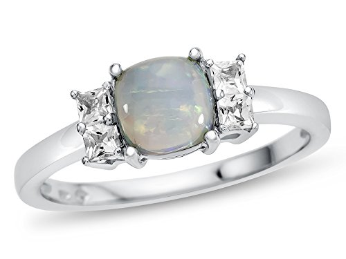 Finejewelers 6x6mm Cushion Created Opal and White Topaz Ring 10 kt White Gold Size 7 Cushion Cut Opal Ring