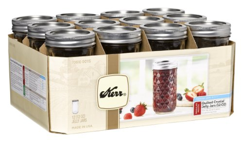Kerr 7061000115 Quilted Crystal Jelly Jars with Lids and Bands, 12-Ounce, Set of - Wide Kerr Mouth