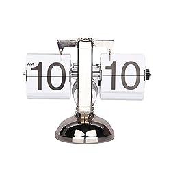 Dovewill Vintage Modern Retro Auto Flip Clock Single/Dual Stand Metal Desk Table Internal Gear Operated Clock Decor Ornaments - Single Stand White, 8x21x16cm