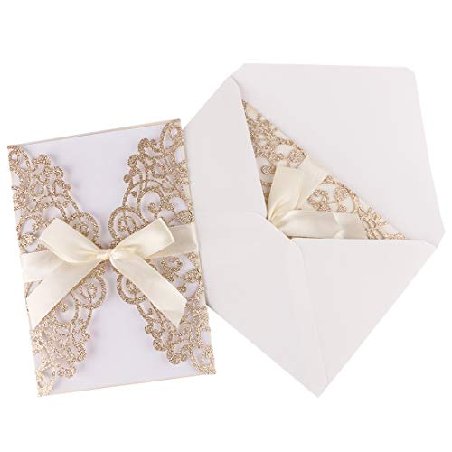 - Driew Wedding Invitations with Envelopes, 12 pcs Laser Cut White Invitations with Ribbon for Wedding Engagement Bridal Baby Shower Business Event Shimmer Elegant Chic Rustic (Gold)