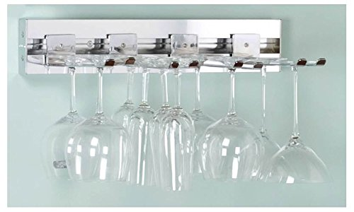 18 in. Wall Mounted Wine Rack - Stemware Set (Satin Nickel) by Pegrail