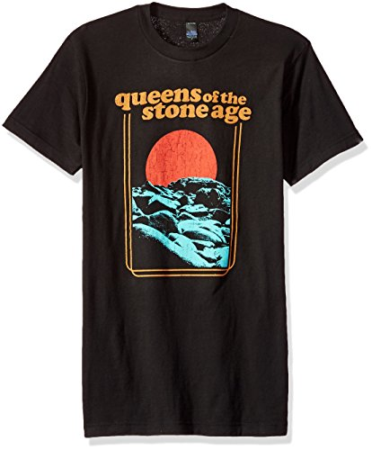 FEA Men's Queens of The Stone Age Red Sun Soft T-Shirt, Vintage Black, Large -