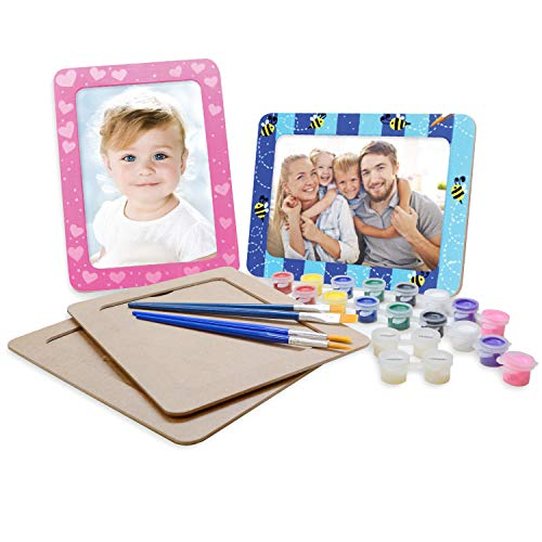 VHALE DIY Create and Paint Your Own Wooden Picture Frame Craft Kit, 4 sets of MDF Photo Frame (5 x 7 inch) with Stand, for Children to Paint and Decorate, Creative Art and Craft, Party Favors for Kids