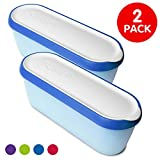SUMO Ice Cream Containers: Insulated Ice Cream Tub for Homemade Ice-Cream, Gelato or Sorbet - Dishwasher Safe - 1.5 Quart Capacity [Blue, 2-Pack]
