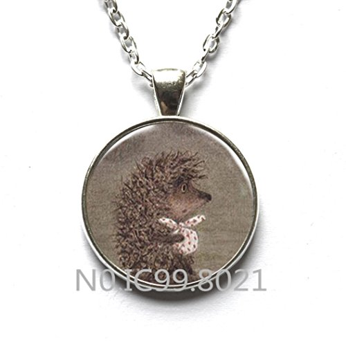 Fashion Necklace Fashion Pendant Handmade Hedgehog In The Fog Silver Pendant Necklace Fashion Cute Animal Time Gem Glass Necklace For Women -