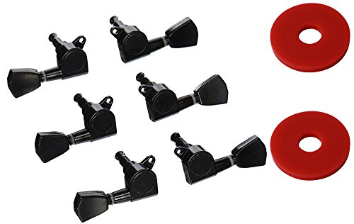 YMC TP30 Series 6 Pieces Guitar Parts 3 Left 3 Right Machine Heads Knobs Guitar String Tuning Pegs Machine Head Tuners for Electric or Acoustic Guitar With 2pcs Strap Locks,Black