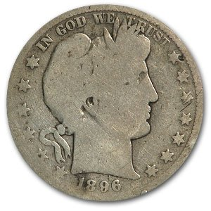 1896 S Barber Half Dollar AG Half Dollar About Good