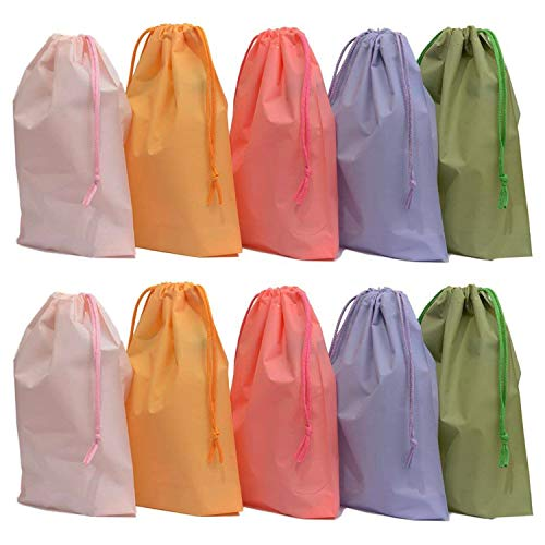 Hulless Drawstring Gift Bag 25PCS Wedding Party Jewelry Favor Drawstring Pouch, 8 in x 10 in (Bottom Gusset) Assorted Colors Plastic Bags for Kids Party Favors Gift Wrapping.