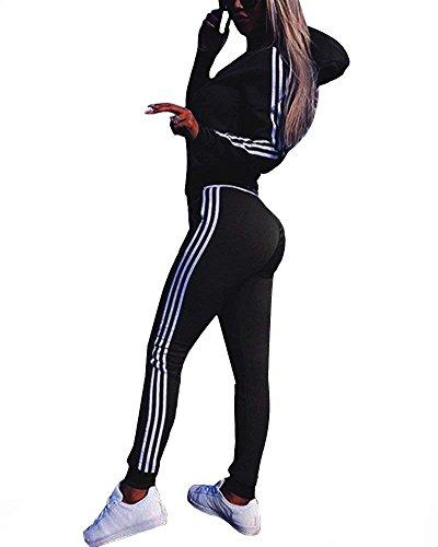 Women Fashion Sport Suits Active Top Bottom Sets Sweatshirt Pant 2 Piece Outfits