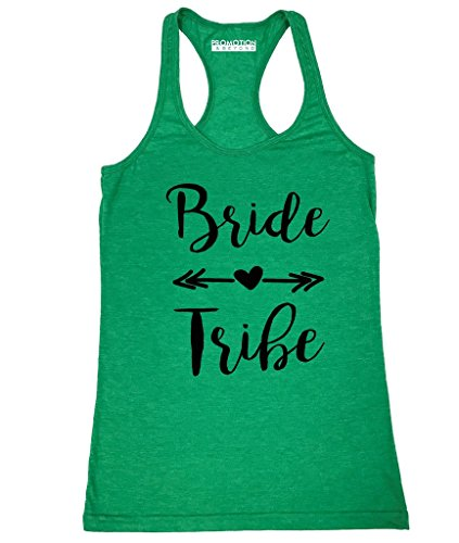 Promotion & Beyond P&B Wedding Bridal Party Gear Bride Tribe Women's Tank Top, XL, H. Green -