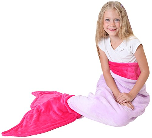 Mermaid Tail Blanket - Soft and Warm Polar Fleece Fabric Blanket by Cuddly Blankets for Kids and Teens (Ages 3-12) (Purple and Hot