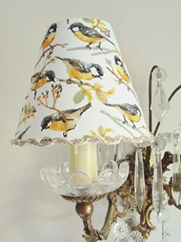 Bird lamp shade Handmade in France Great Tit fabric 4.3 ins x 5.1 ins clip on for sconce or chandelier