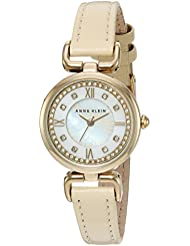Anne Klein Womens AK/2382MPIV Swarovski Crystal Accented Rose Gold-Tone and Beige Leather Strap Watch