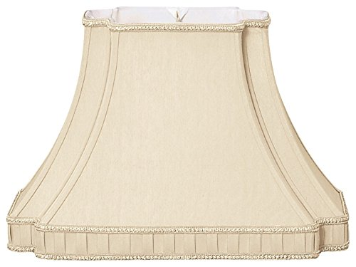 (Royal Designs Rectangle Bell with Bottom Gallery Inverted Corner Designer Lamp Shade, Beige, (6 x 8.5) x (9 x 16) x 11 )
