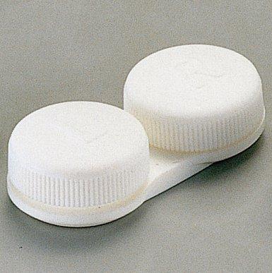 OPTISAFE - lit plat cas de lentilles de contact - BLANC ~ (pack 3)