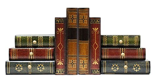 Classic Book-Alike Decorative Bookends - 6 Drawers Set