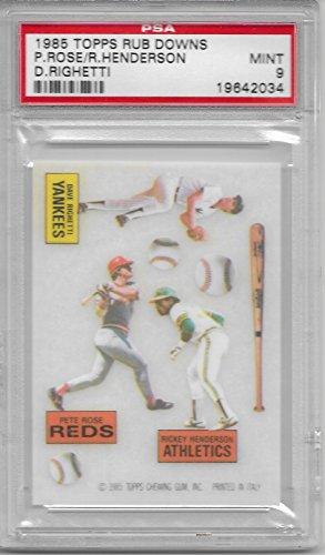 Roses Rub - 1985 Topps Baseball Rub Downs Pete Rose-Henderson-Righetti Card PSA 9 Mint