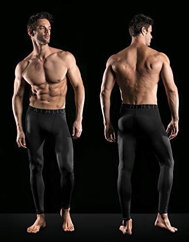 ATHLIO 1 or 2 Pack Mens Compression Pants Running Tights Workout Leggings, Cool Dry Technical Sports Baselayer