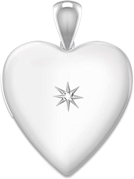 0.925 Sterling Silver 2 Photo Heart Locket Pendant Necklace