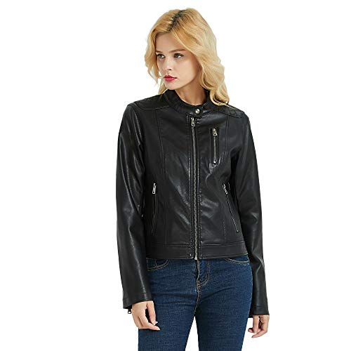 Womens Racer Jacket - PANAPA Women's Lambskin Touch Faux Leather Motocycle Racer Jacket